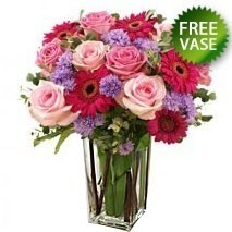 Roses And Gerberas With Free Vase