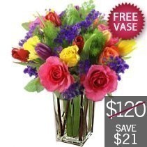 Bright Bunch With Free Vase - By Lily's Florist