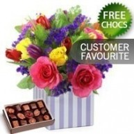 Bright Arrangement With Free Chocolates