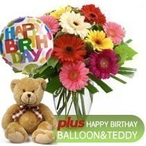 Gerbera Bunch + Teddy + Birthday Balloon