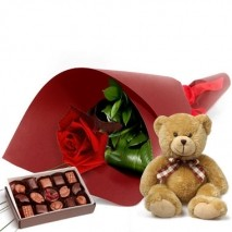 Single Rose With Chocolates And Teddy