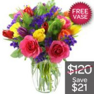 Bright Bunch With Free Vase