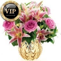 VIP Pink Rose And Lily Bunch