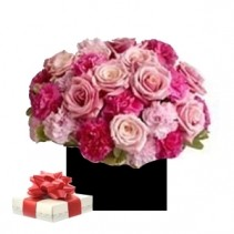 Roses And Carnations Arrangement With Free Chocs