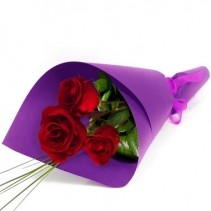 3 Wrapped Red Roses