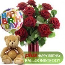 12 Red Roses + Teddy + Birthday Balloon