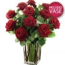 12 Red Roses With Vase Special
