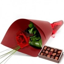 Single Rose With Chocolates
